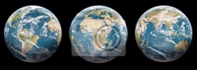 3er Set Globen Planeten Erde - schwarzer Hintergrund