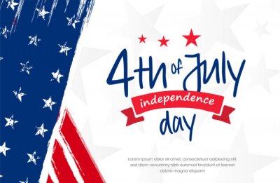 Bild 4th of July, USA, United States of America independence day celebration design on grunge American vintage flag background use for sale banner, discount banner, advertisement banner, social media etc.