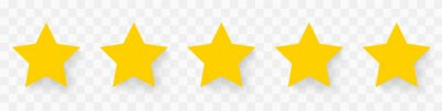 Bild 5 gold stars quality rating icon. Five yellow star product quality rating. Golden star vector icons. Stars in modern simple with shadow - stock vector.