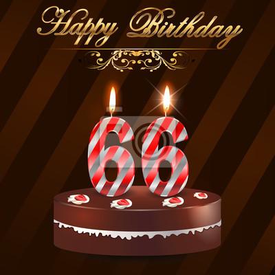 66 Jahre Happy Birthday Card Mit Kuchen Und Kerzen 66 Geburtstag