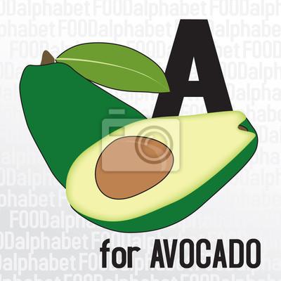 A für Avocado, das Essen Alphabet