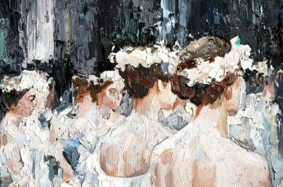 Bild  A group of beautiful graceful ballerinas in white dresses and with flowers in hair, in the theater are preparing for the performance. Oil painting on canvas.