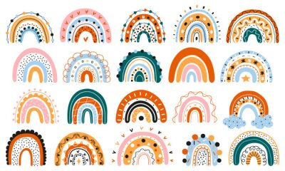 Bild A large set of Scandinavian rainbows with ornaments. Colorful modern set with abstract rainbow icons. Hand-drawn children's boho decorations. For design, posters. Flat style. Vector. Isolated objects.