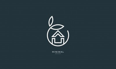 Bild A line art icon logo of a house/home with a leaf circle