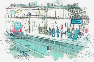 Bild A watercolor sketch or an illustration. Germany. Berlin. The central station is called Berlin Hauptbahnhof. People are waiting for the train on the platform.
