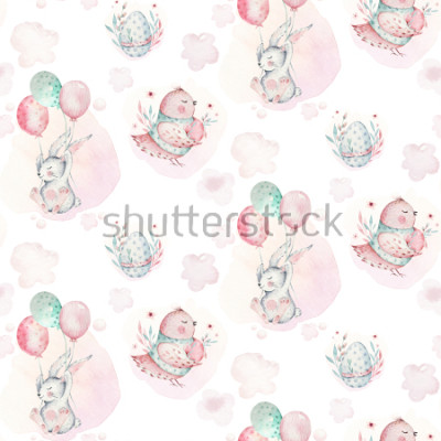 Bild A watercolor spring illustration of the cute easter baby bunny. Rabbit cartoon animal seamless pattern with balloon nd bird