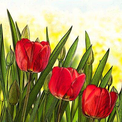 Bild Abbildung der roten Tulpen