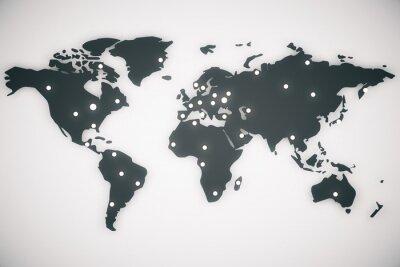 Bild Abbildung Weltkarte mit Großbuchstaben, 3d render