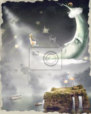 Abbildung zeigt das Mädchen, die Himmel in Sternen bewundern