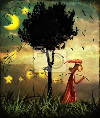 Abbildung zeigt den Assistenten sammeln Sterne in einem Wald