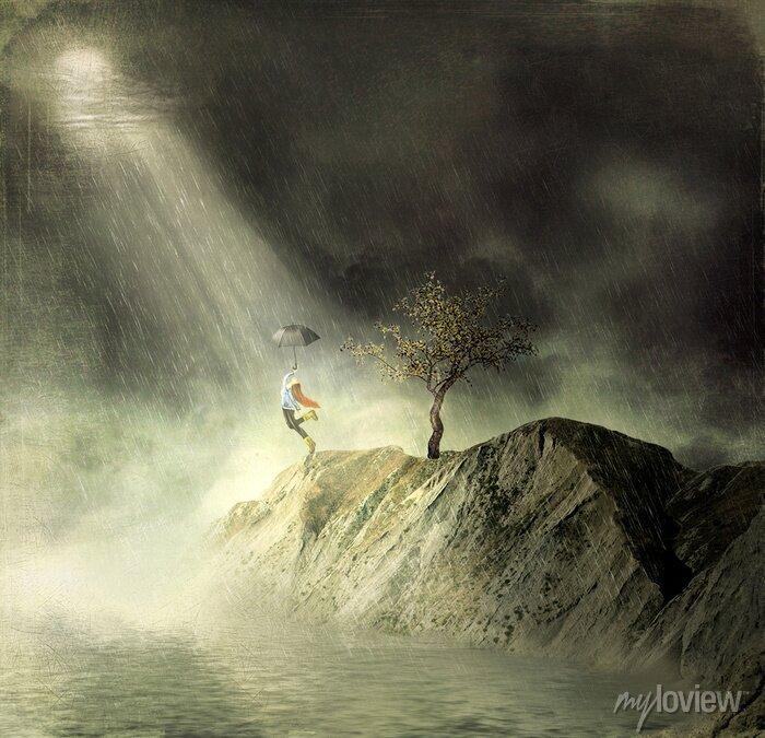 Bild Abbildung zeigt ein Mädchen auf dem Berg von.Ein Mädchen mit einem Regenschirm tanzt im Regen