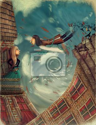 Abbildung zeigt einen Mann im Himmel. Er wächst in einen Vogel. Ein Mädchen steht auf einem Balkon und sieht in Himmel