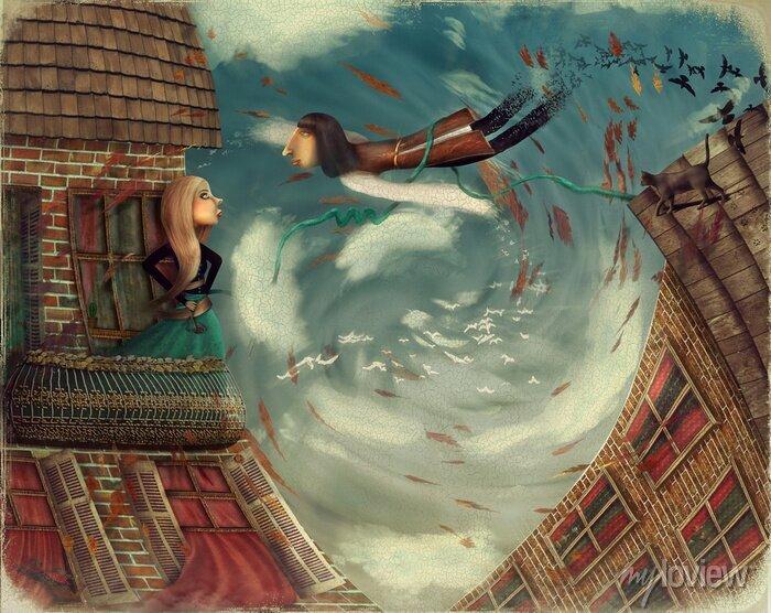 Bild Abbildung zeigt einen Mann im Himmel. Er wächst in einen Vogel. Ein Mädchen steht auf einem Balkon und sieht in Himmel