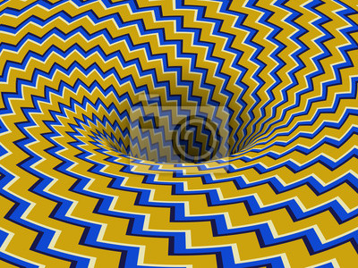 Absorbing rotating hole of yellow blue zigzag stripes pattern. Vector optical illusion background.