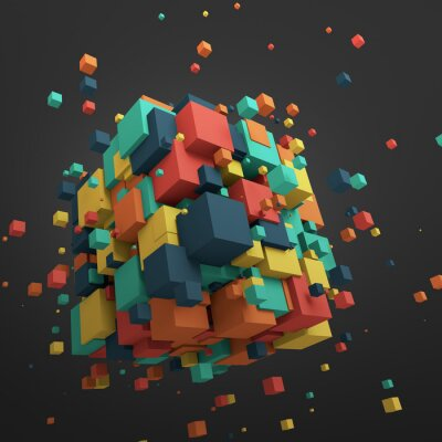 Bild Abstract 3D Rendering of Flying Cubes.