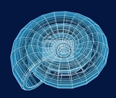 Abstract 3d Spirale Shell von einem blauen Gitter