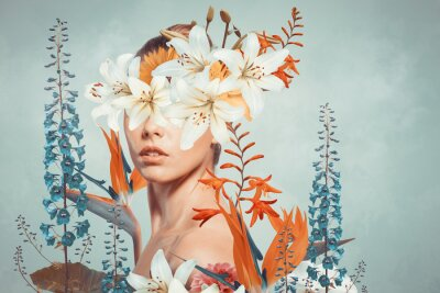 Bild Abstract art collage of young woman with flowers