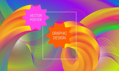 Abstract background design with liquid flow shapes and colorful guilloche element. Dynamic music poster template.
