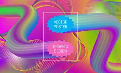 Abstract background design with liquid flow shapes and iridescent guilloche elements. Dynamic music poster template.