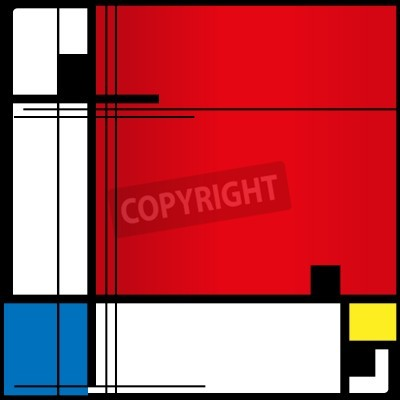 Bild Abstract background in style of a cubism, red, blue, yellow squares