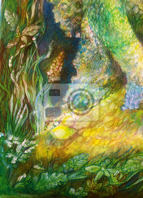Abstract background ornamental structure with plant and floral