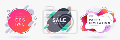 Bild Abstract colorful badges set isolated on white background. Abstract dynamic geometric banners. Modern backdrop with place for text. Applicable for advertising, invitation, price tags. Vector eps 10.