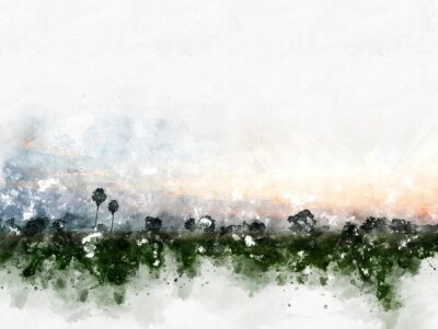 Bild Abstract colorful field landscape on watercolor illustration painting background.