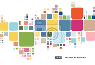 Bild Abstract colorful geometric square border pattern on white background