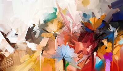 Bild Abstract colorful oil, acrylic painting of spring flower. Hand painted brush stroke on canvas. Illustration oil painting floral for background. Modern art paintings flowers with yellow, red color.