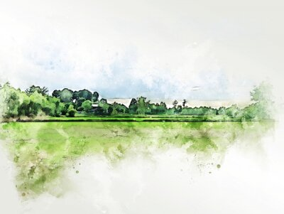 Bild Abstract colorful shape on tree and field landscape watercolor illustration painting background.