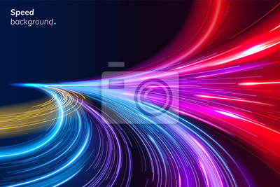 Bild Abstract colorful speed background with lines in shape of track turn. Geometric and dynamic, trendy layout for racing club or sport competition, event poster. Futuristic and motion, race and linear