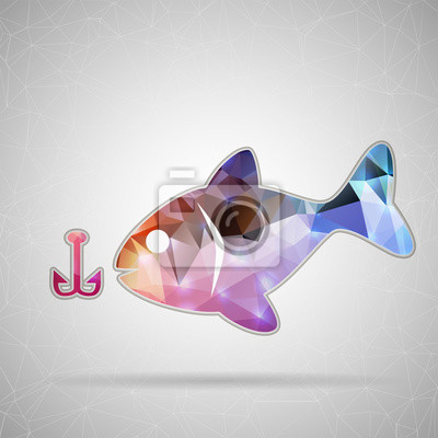 Bild Abstract Creative concept vector icon of fishing for Web and