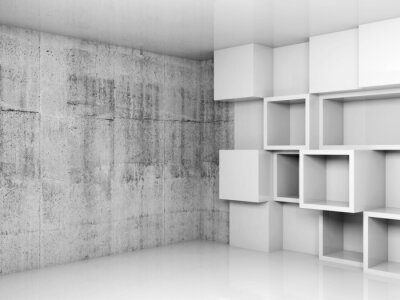 Bild Abstract empty interior background with white cubes