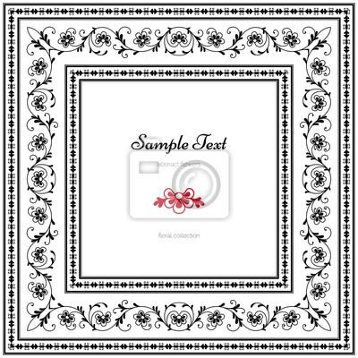 Bild Abstract floral frame, schwarzen und weißen Hintergrund
