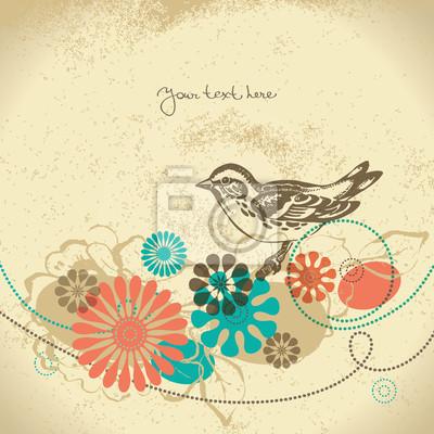Abstract floral Hintergrund mit Vogel