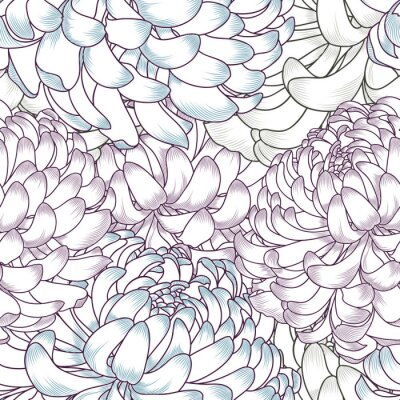 Bild Abstract floral seamless pattern with flowers of chrysanthemums.
