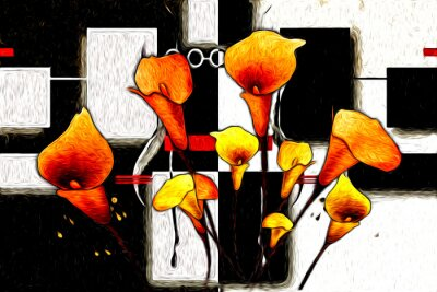 Bild Abstract flower oil painting
