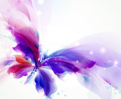 Bild Abstract flying butterfly with blue, purple and cyan blots