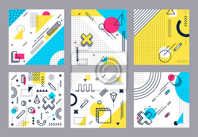 Bild Abstract geometrical background. Modern geometric shapes, funky minimal and memphis style square cards design. 80s retro pop backdrop wallpaper isolated vector illustration set
