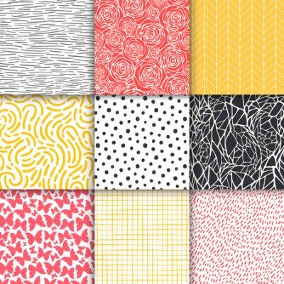 Bild Abstract hand drawn geometric simple minimalistic seamless patterns set. Polka dot, stripes, waves, random symbols textures. Vector illustration