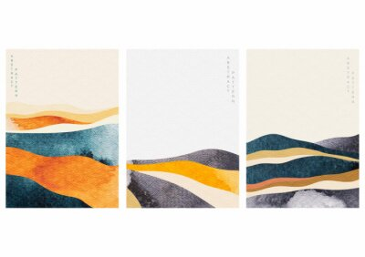 Bild Abstract landscape background with Japanese wave pattern vector. Watercolor texture in Chinese style. Mountain forest template illustration.