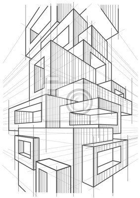 Bild abstract linear architectural sketch of abstract multi storey modern building