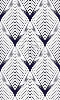 Abstract lines geometric seamless pattern, vector repeat endless fabric background. Floral leaves or fish squama shapes trendy motif. Single color, black and white.