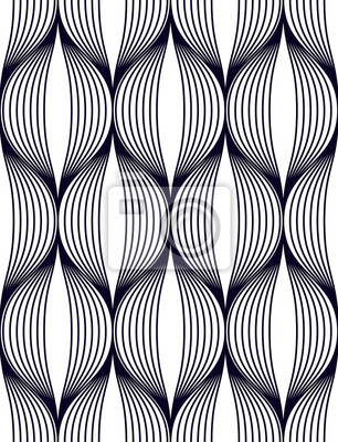 Abstract lines geometric seamless pattern, vector repeat endless fabric background. Wavy curve shapes trendy repeat motif.