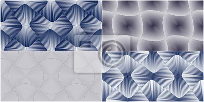 Abstract lines geometric seamless patterns set, vector repeat endless fabric backgrounds collection. Rounded overlapping squares shapes trendy repeat motif. Single color, black and white.