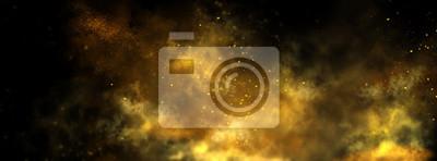 Bild Abstract magic gold dust background over black. Beautiful golden art widescreen background