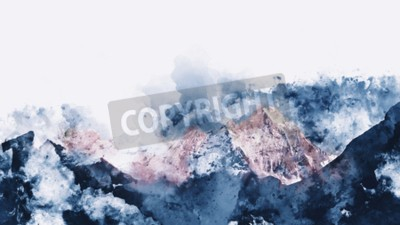 Bild Abstract mountain ranges in morning light,  digital watercolor painting
