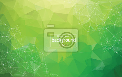 Bild Abstract Multi green Polygonal Space Background with Connecting Dots and Lines. Geometric Polygonal background molecule and communication. Concept of science, chemistry, biology, medicine, technology.