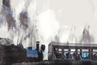 Bild Abstract painting of vintage train with smoke, digital painting