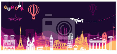 Abstract panorama of Europe. Landmarks in style paper art and craft